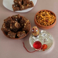 Doda Barfi with Namkeen Silver Tikka Thali and Pooja Accessories
