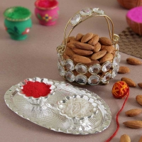 Almonds with Crystal Basket and Roli Chawal Container