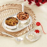 Silver Plated Tikka holder and Serving Set Hamper