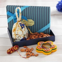 Almonds Potli with Wooden Chopra and Tikka Holder