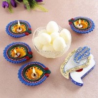 Rasgulla and Earthen Diyas Combo