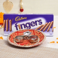 Bandhej Printed Tikka Thali with Cadbury Finger Chocolates