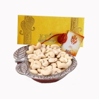Bhai Dooj Tikka Mauli Apple Shaped White Metal Bowl and Cashews