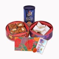 Bhai Dooj Tikka Mauli Kaju Barfee in CD Box Badam Pinni in CD