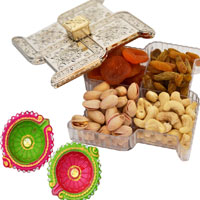 Diwali Dryfruits Box with Colourfull Earthen Diyas